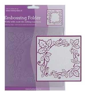Prägeschablone / Embossing Folder - Weihnachtskranz - Rahmen 14x14 cm