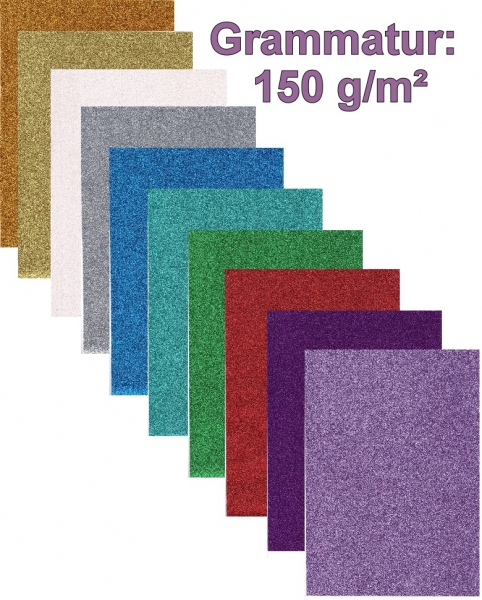 Glitterpapier - irisierend, 150 g/qm