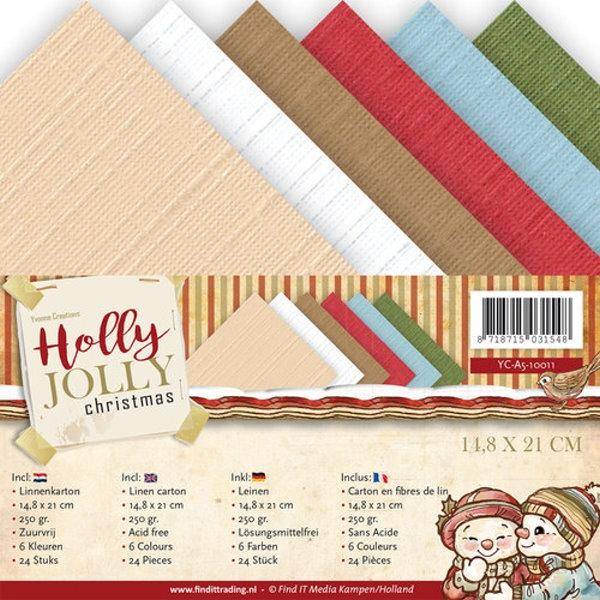 Leinenpapier-Set - Holly Jolly - DIN A5 - Yvonne Creations