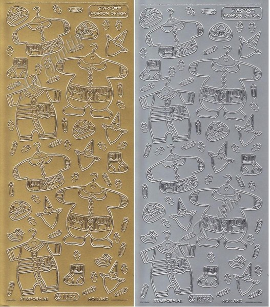 Sticker - Baby Bekleidung - Jungen in Gold oder Silber - Format 10x23cm