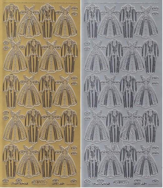 Sticker - Wedding Dress & Suit / Hochzeitanzug & -kleid in Gold oder Silber - Format 10x23cm