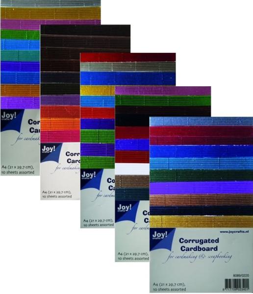 10 Bögen - Wellkarton - DIN A4 - Metallic Farben in 5 versch. Set´s