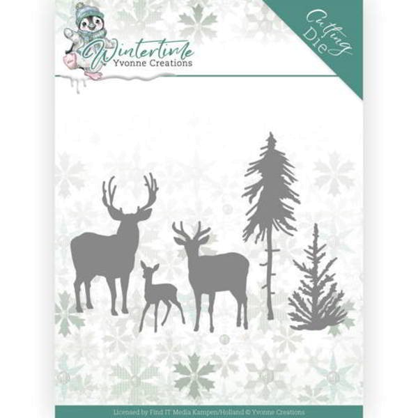 Deer in the Forest - Winter Time - Stanzschablone