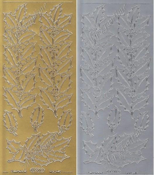 Mistelzweige - Sticker in Gold oder Silber - Format 10x23cm