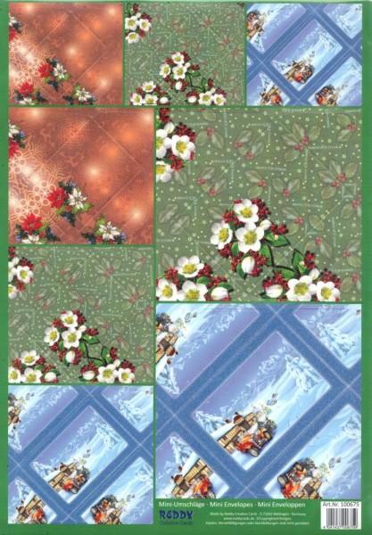 Mini-Umschläge Weihnachten 4 - 8er-Set