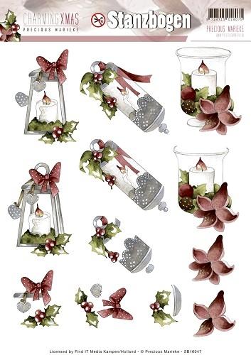 Kerzen, Laternen, Lichter - Charming Xmas - 3D - Stanzbogen SB10047