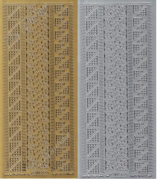 Sticker - Ecken / Bordüren in Gold oder Silber - Format 10x23 cm