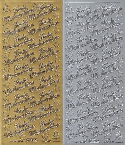 """Sticker - """"Frohe Weihnachten 1"""" in Gold oder Silber - Format 10x23cm"""