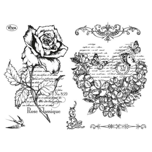 Blumenherz & Rose Stempel / Clearstamp