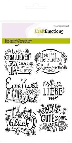 Wir Gratulieren - handlettering - Clear Stamp - Stempelplatte von Craft Emotions (130501/1260)