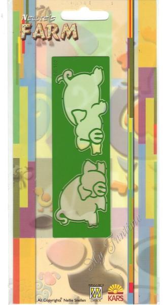 Schweine - Prägeschablone / Embossing-Folder