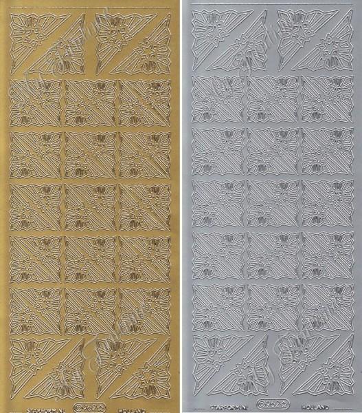 """Sticker - """"Weihnachtliche Ecken / Corner"""" in Gold oder Silber - Format 10x23cm"""