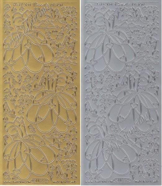 """Sticker - Kleider in Gold - Format 10x23cm """"Doodle Design Dress"""" Set 2"""