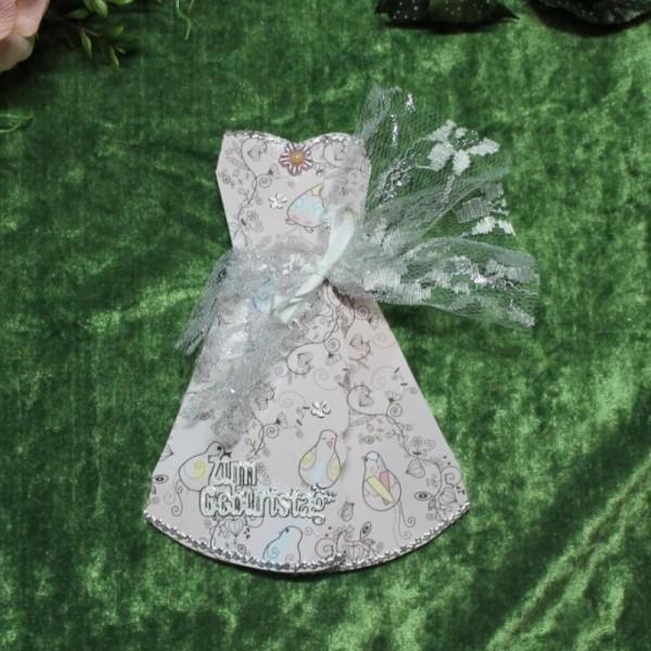 Grußkarte zum Geburtstag in Form eines Kleides