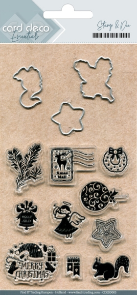 Holly Jolly - Stanzschablonen & ClearStamp - Set 3