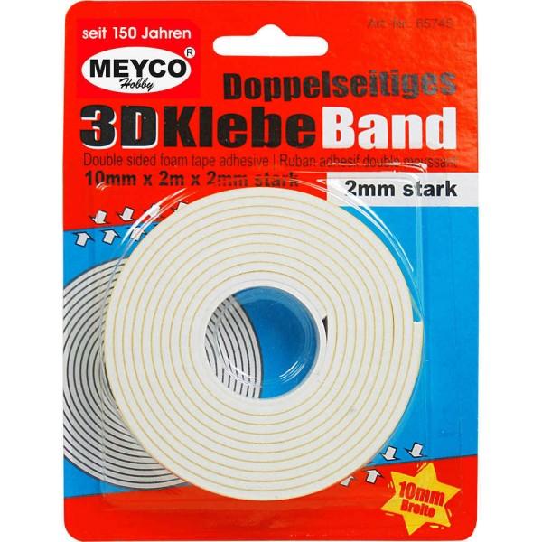 3D Klebeband / Foamtape 2m x 10mm (doppelseitig - selbstklebend) von MEYCO Hobby (65745)