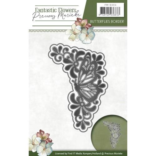 Butterflies Border - Fantastic Flowers - Stanzschablone