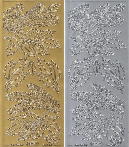 """Sticker - """"Mistel- und Tannenzweige"""" in Gold oder Silber - Format 10x23cm"""