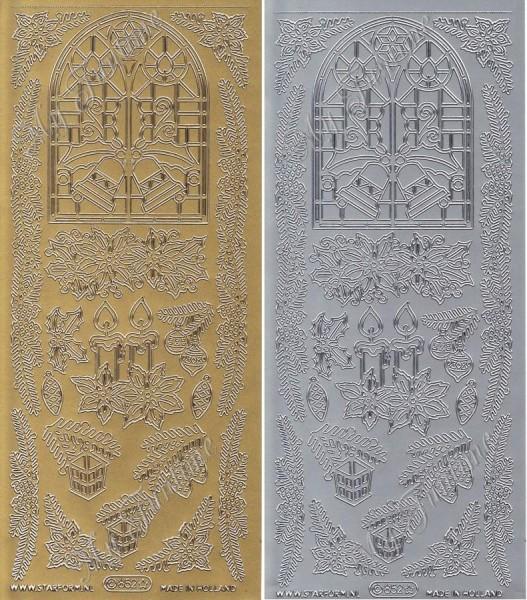 Weihnachtsfenster -Sticker in Gold oder Silber - Format 10x23cm