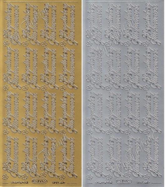 Sticker - Herzlichen Glückwunsch in Gold oder Silber - Format 10x23cm