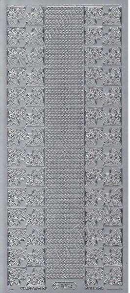Sticker - Ränder und Bordüren in Silber - Format 10x23 cm