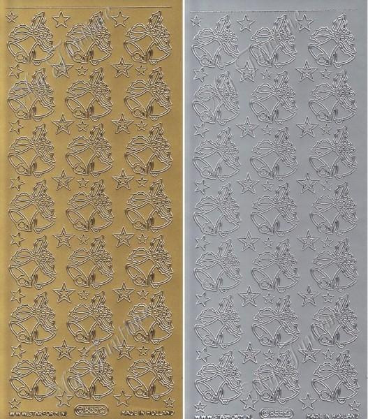 """Sticker - """"Weihnachtsglocken"""" in Gold oder Silber - Format 10x23cm"""