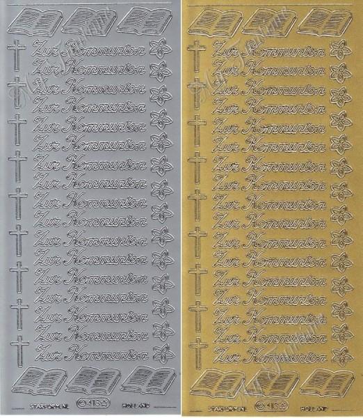 Zur Kommunion - Sticker in Gold oder Silber - Format 10x23cm