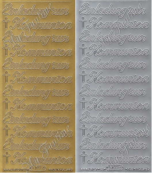 Einladung zur Kommunion - Sticker in Gold oder Silber - Format 10x23cm