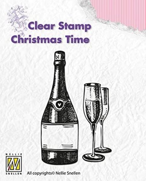 """""""Wine"""" - Champagnerflasche u. Gläser - Stempel - Clearstamp"""