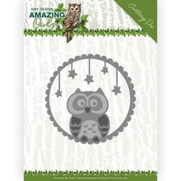 Eule in der Nacht / Night Owl - Amazing Owls - Stanzschablone