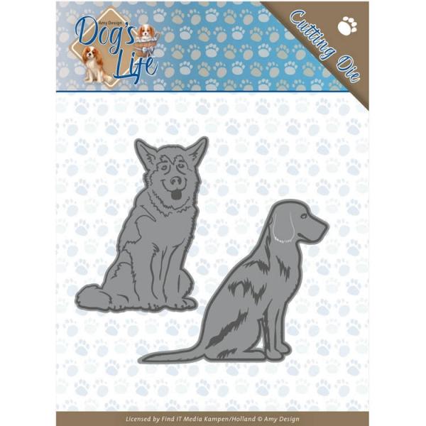 sitzende Hunde / Sitting Dogs - Stanzschablone
