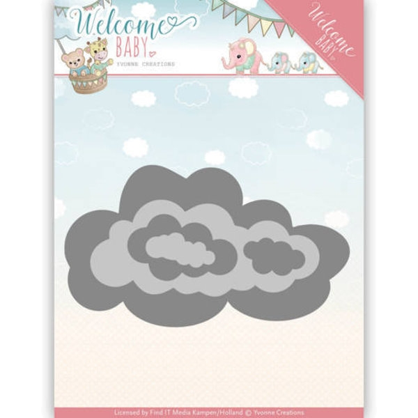 Nesting Clouds - Welcome Baby - Stanzschablone