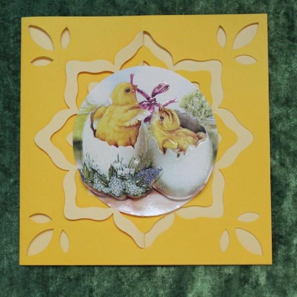 Grusskarte zum Osterfest - Gelb