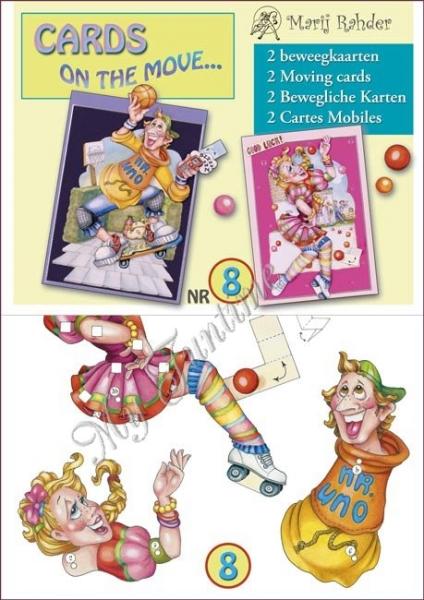 """2 bewegliche Karten / 3-D Bastelpackung """"Mister Uno & Rollschuhfahrerin"""""""