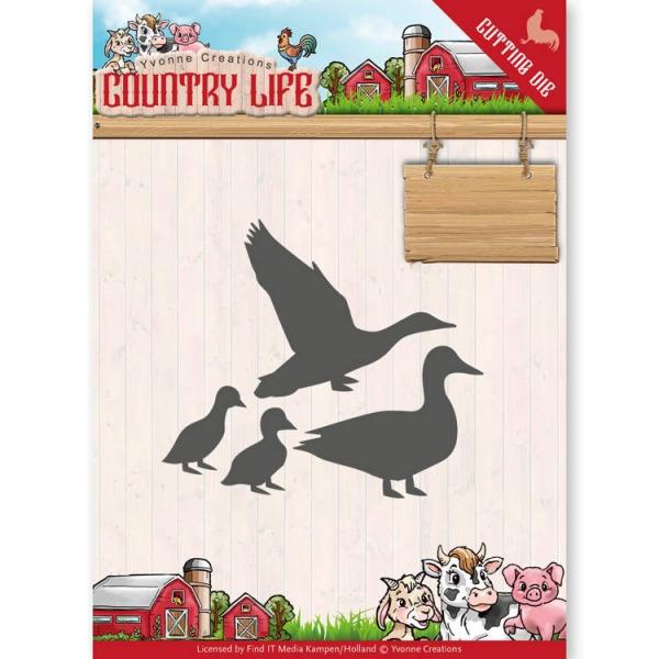 Ducks / Entenfamilie - Country Life - Stanzschablone