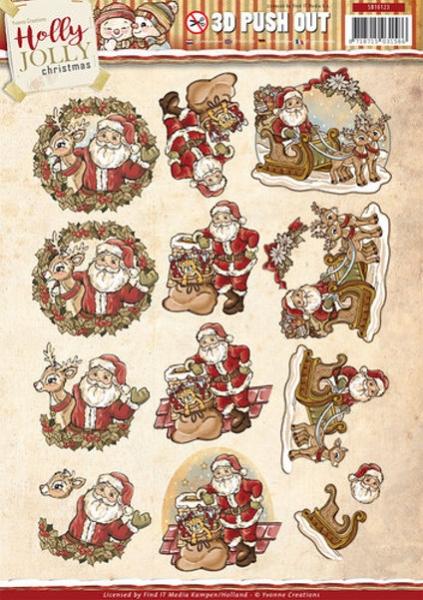 Holly Jolly - Santa - 3D - Stanzbogen