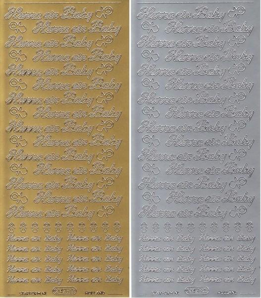 Hurra ein Baby - Sticker in Gold oder Silber - Format 10x23cm