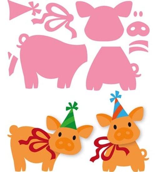 Schweinchen - Stanzschablone