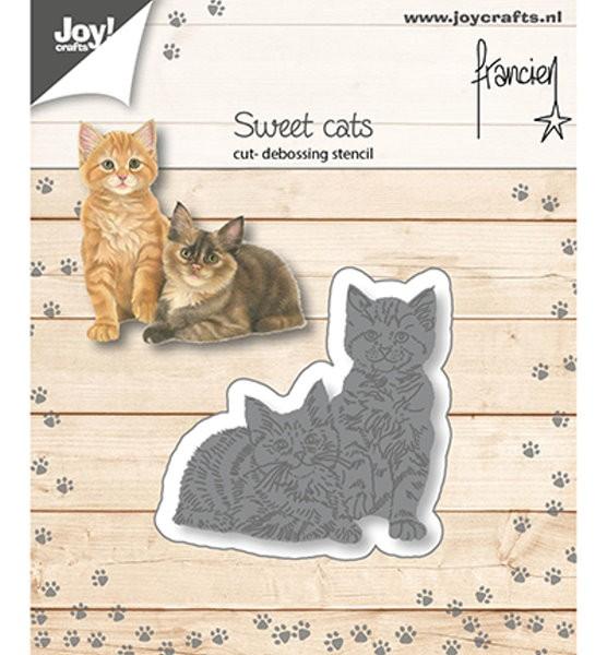 zwei Katzen - Stanzschablone