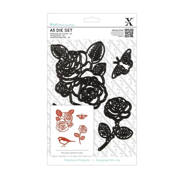 Rosen, Spatz, Schmetterling - XXL-Stanzschablone von XCut