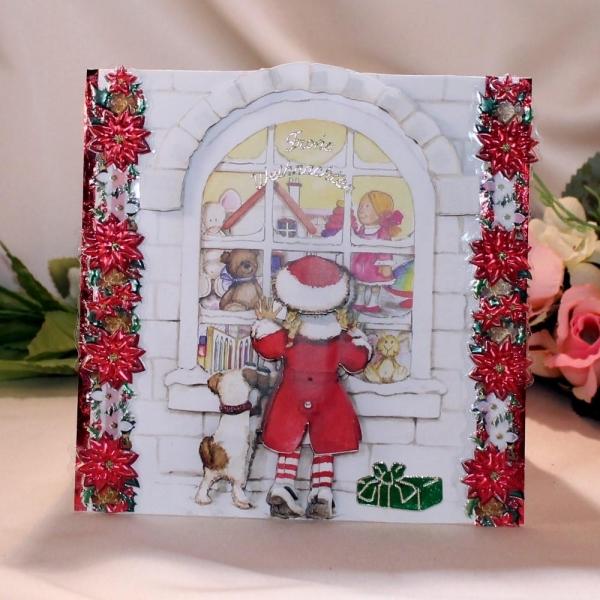 """Grußkarte zum Weihnachtsfest - 3D-Motiv """"Mädchen am Fenster"""""""