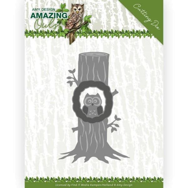 Eule im Baum / Owl in Tree - Amazing Owls - Stanzschablone