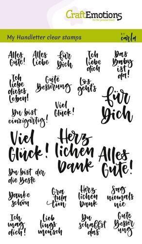 versch. Texte (klein) - Clear Stamp - Stempelplatte von Craft Emotions (130501/1860)