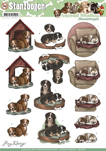 Hunde - Animal Medley - 3D - Stanzbogen - SB10025