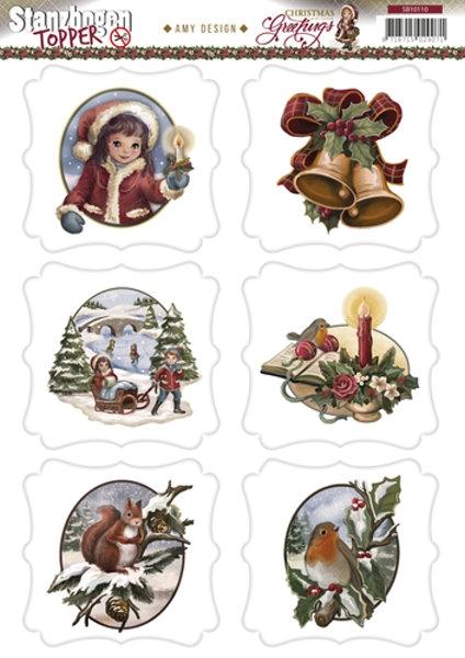 Topper - Christmas Greetings - 3D - Stanzbogen