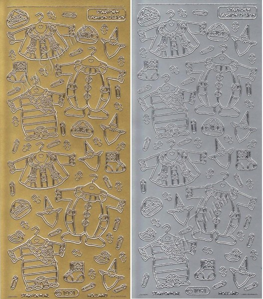 Sticker - Baby Bekleidung - Mädchen in Gold oder Silber - Format 10x23cm