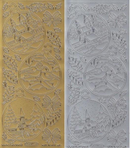 """Sticker - """"Weihnachtsmotive in Christbaumkugel"""" in Gold oder Silber - Format 10x23cm"""