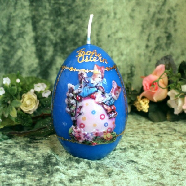 wunderschöne Kerze zum Osterfest - Blau
