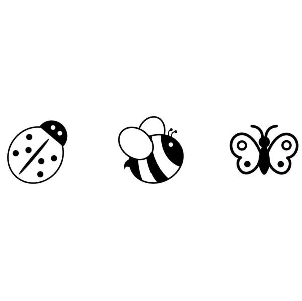 Marienkäfer, Biene und Schmetterling (Set) - montierte Holz-Stempel