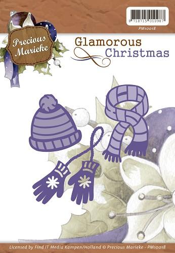 Stanz- und Prägeschablone von Preciouse Marieke Schal und Handschuhe Mütze